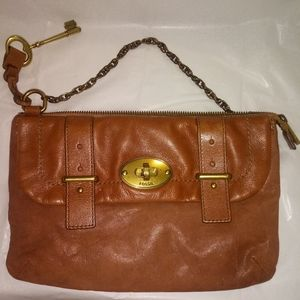 Fossil tan leather bag with brass hardw